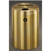 Glaro RecyclePro Satin Brass Cover Dual Purpose Recycle Receptacle in All Satin Brass Finish
