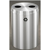 Glaro RecyclePro Satin Aluminum Cover Dual Purpose Recycle Receptacle in Satin Black Finish, Shown in All Satin Aluminum with Many Other Finishes Available