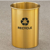 Glaro RecyclePro Open Top Wastebasket in in Multiple Colors, 5 Gal, 10'' Dia. x 15'' H, Shown with Logo & Recycle message