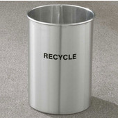 Glaro RecyclePro Open Top Wastebasket w/ Recycle Message in Multiple Colors, 5 Gal, 10'' Dia. x 15'' H, Shown in Satin Aluminum