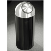 Glaro Mount Everest Self Closing Dome Top Waste Receptacle, 8 Gal, 12'' Dia. x 30'' H, Satin Aluminum Cover, Available in Multiple Colors