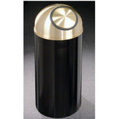 Glaro Mount Everest Self Closing Dome Top Waste Receptacle, 8 Gal, 12'' Dia. x 30'' H, Satin Brass Cover, Available in Multiple Colors