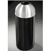 Glaro Mount Everest Open Dome Top Waste Receptacle, 8 Gal, 12'' Dia. x 30'' H, Satin Aluminum Cover, Available in Multiple Colors