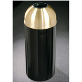 Glaro Mount Everest Open Dome Top Waste Receptacle, 8 Gal, 12'' Dia. x 30'' H, Satin Brass Cover, Available in Multiple Colors