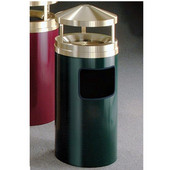 Glaro Ash/Trash Canopy Top Wastemaster� with Sand Tray, 7 Gal, 12'' Dia. x 39'' H, , Available in Multiple Colors, Satin Brass Cover, Shown in Hunter Green