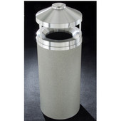 Glaro Canopy Top Wastemaster® with Built-In Cigarette Receptacle, 12 Gal, 12'' Dia. x 39'' H, , Available in Multiple Colors, Satin Aluminum Cover, Finish Shown Not Available