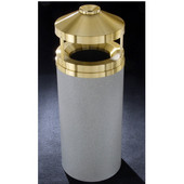 Glaro Canopy Top Wastemaster® with Built-In Cigarette Receptacle, 12 Gal, 12'' Dia. x 39'' H, , Available in Multiple Colors, Satin Brass Cover, Finish Shown Not Available
