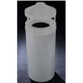 Glaro Canopy Top Wastemaster® with Built-In Cigarette Receptacle, 12 Gal, 12'' Dia. x 39'' H, , Available in Multiple Colors, Matching Powder Coat Cover, Shown with Satin Brass Cover