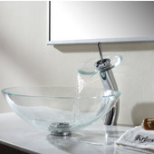 Crystal Clear Glass Vessel Sink with Chrome Pop-Up Drain & Mounting Ring, 16-1/2'' Dia. x 5-1/2'' H