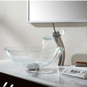 Crystal Clear Glass Vessel Sink with Satin Nickel Pop-Up Drain & Mounting Ring, 16-1/2'' Dia. x 5-1/2'' H