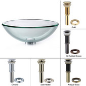 Clear Glass 19mm Edge Vessel Sink with Chrome Pop-Up Drain & Mounting Ring, 17''D x 6''H