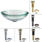 Clear Glass 34mm Edge Vessel Sink with Chrome Pop-Up Drain & Mounting Ring, 17''D x 6''H