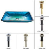 Irruption Blue Rectangular Glass Sink with Oil Rubbed Bronze Pop-Up Drain, 13-8/9''W x 21-8/9''D x 4''H