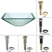 Aquamarine Square Clear Glass Sink with Chrome Pop-Up Drain & Mounting Ring, 16-1/2''W x 16-1/2''D x 6''H