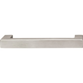(5-11/16'' W) Modern Handle in Matt Stainless Steel, 143mm W x 40mm D x 15mm H