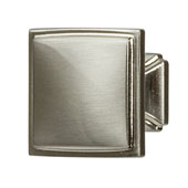 Hickory Bridges Collection (1-1/4'' W) Square Knob, Satin Nickel, 32mm W x 28mm D x 32mm H