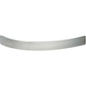 Cornerstone Series Contemporary (5-11/16'' W) Curved Cabinet Handle in Stainless Steel, 142mm W x 30mm D x 15mm H, Center to Center: 128mm  (5-3/64'')