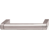 Cornerstone Series Contemporary (4-1/5'' W) Matt Stainless Steel Center Cabinet Handle with Matt Nickel Ends, 106mm W x 35mm D x 14mm H, Center to Center: 96mm  (3-3/4'')