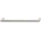 Cornerstone Series Contemporary (5-2/5'' W) Matt Stainless Steel Center Cabinet Handle with Matt Nickel Ends, 138mm W x 35mm D x 14mm H, Center to Center: 128mm  (5-3/64'')