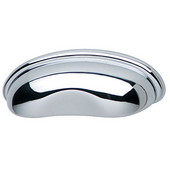 (3-2/5'' W) Modern Cup Cabinet Handle in Polished Chrome, 86mm W x 22mm D x 28mm H