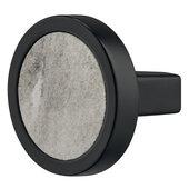 Design Deco Series Design Model H2175 Collection Zinc Alloy Round Knob in Marble White/Matt Black, 32mm Diameter x 29mm D (1-1/4'' Diameter x 1-1/8'' D)