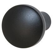 Design Deco Series Nouveau Collection Zinc Round Knob in Matt Black, 20mm Diameter x 31mm D (13/16'' Diameter x 1-1/4'' D)