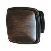 Keystone Transitional Style Collection (1-1/4'' W) Square Knob, Oil-Rubbed Bronze, 32mm W x 25mm D x 32mm H