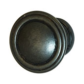 Keystone Fluted Style Collection (1-1/6'' Dia.) Round Knob, Antique Black, 30mm Diameter