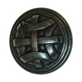 Keystone Woven Style Collection (1-1/4'' Dia.) Round Knob, Antique Black, 32mm Diameter