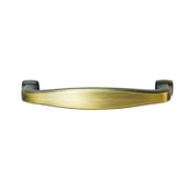Keystone Transitional Style Collection (4-1/4''W) Handle, Antique Satin Brass, 108mm W x 15mm D x 27mm H, 96mm Center to Center