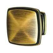 Keystone Transitional Style Collection (1-1/4'' W) Square Knob, Antique Satin Brass, 32mm W x 25mm D x 32mm H