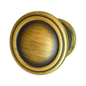 Keystone Fluted Style Collection (1-1/6'' Dia.) Round Knob, Antique Satin Brass, 30mm Diameter