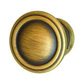 Keystone Fluted Style Collection (1-1/6'' Dia.) Round Knob, Antique Satin Brass, 30mm Diameter