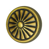 Keystone Retro Style Collection (1-1/4'' Dia.) Round Knob, Antique Satin Brass, 32mm Diameter
