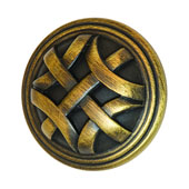 Keystone Woven Style Collection (1-1/4'' Dia.) Round Knob, Antique Satin Brass, 32mm Diameter