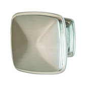 Keystone Transitional Style Collection (1-1/4'' W) Square Knob, Satin Nickel, 32mm W x 25mm D x 32mm H