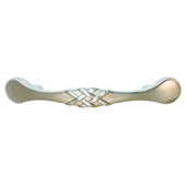 Keystone Woven Style Collection (4-5/7''W) Handle, Satin Nickel, 120mm W x 18mm D x 21mm H, 76 Center to Center