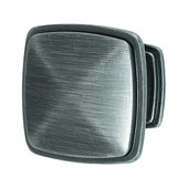 Keystone Transitional Style Collection (1-1/4'' W) Square Knob, Satin Pewter, 32mm W x 25mm D x 32mm H