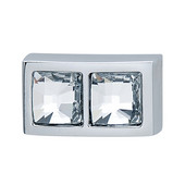 Elements Collection Swarovski Crystal Knob in Polished Chrome, 28mm W x 22mm D x 15mm H