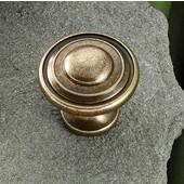(1-1/4'') Diameter Round Knob in Antique English, 30mm Diameter x 28mm D x 18mm Base Diameter