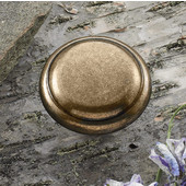 (1-1/4'') Diameter Traditional Round Knob in Burnished Brass, 31mm Diameter x 23mm D x 9mm Base Diameter
