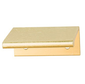 Cornerstone Series Tab Collection (2-3/4'' W) ''L'' Handle, Brushed Brass, 70mm W x 42mm D x 18mm H, Center to Center: 50mm (2'')