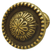 Classico Collection Knob in Rustic Brass, 27mm Diameter x 25mm D x 12mm Base Diameter