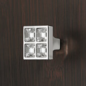 Design Deco Series Deco Collection Collection Zinc and Crystal Square Knob in Polished Nickel, 27mm W x 21mm D x 27mm H (1-1/16'' W x 13/16'' D x 1-1/16'' H)