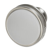 Design Deco Series Amerock Oberon Collection Zinc and Acrylic Round Knob in Satin Nickel/Frosted, 35mm Diameter x 30mm D (1-3/8'' Diameter x 1-3/16'' D)