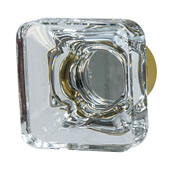 Amerock Glacio Collection (1-3/8''W) Square Knob, Golden Champagne & Clear Crystal, 35mm W x 35mm D x 33mm H