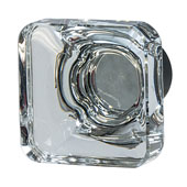 Amerock Glacio Collection (1-3/8''W) Square Knob, Oil-Rubbed Bronze & Clear Crystal, 35mm W x 35mm D x 33mm H
