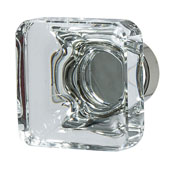 Amerock Glacio Collection (1-3/8''W) Square Knob, Polished Nickel & Clear Crystal, 35mm W x 35mm D x 33mm H