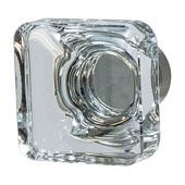 Amerock Glacio Collection (1-3/8''W) Square Knob, Satin Nickel & Clear Crystal, 35mm W x 35mm D x 33mm H
