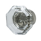 Amerock Traditional Classics Collection (1-2/7'' Dia.) Knob, Polished Nickel & Clear Glass, 33mm Diameter